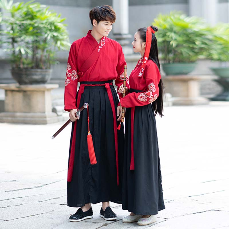 Couples Costume Ancient Chinese Vintage Hanfu Red Top with Black Skirt Fantasia Adult Halloween Costume For Men&Women Plus Size image