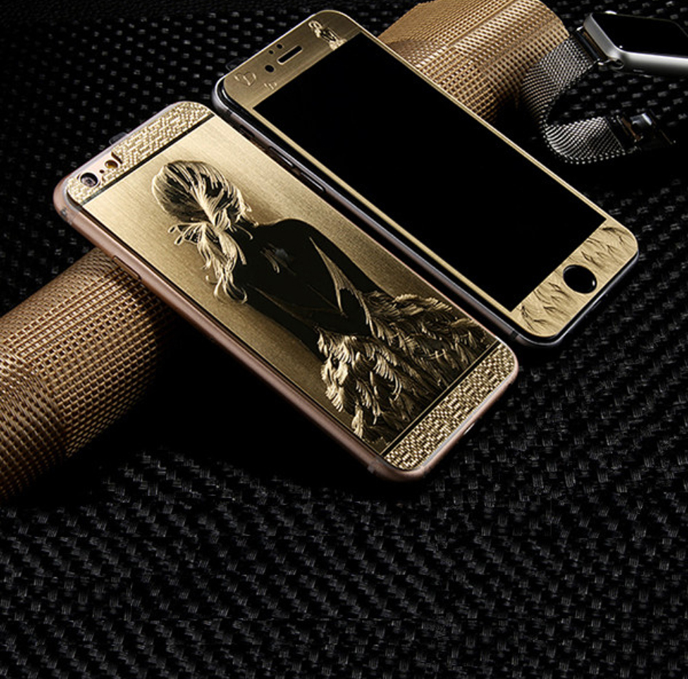 2.5D Front+Back Luxury Gold 9H 3D painting  Full Cover Color Tempered Glass case For iphone 5 5S 6 6s Plus Screen Film cover ca