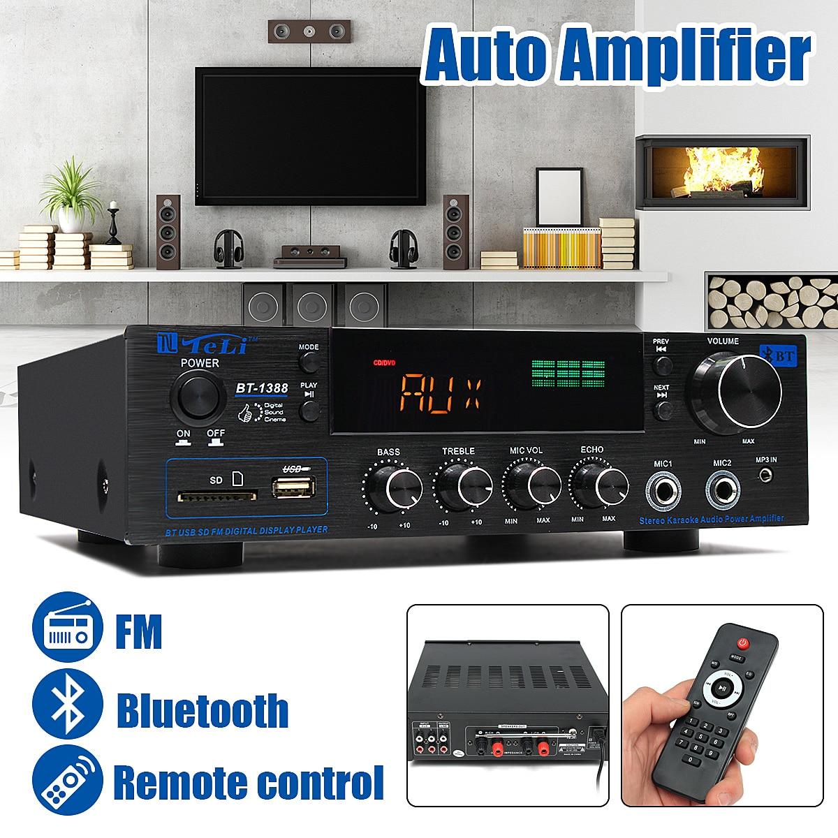 220V-240V 1388 2*200W Bluetooth Stereo 2.0 Amplifier HiFi Power Remote Control USB SD Aux Mic Input Auto Amplifier