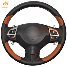 MEWANT Black Brown Genuine Leather Car Steering Wheel Cover for Mitsubishi Lancer EX Outlander ASX Colt Pajero Sport