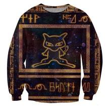 Neue tops frauen männer unisex 3d sweatshirts cartoon Pokemon jumper Alte Mew hoodies trainingsanzug größe S-XXL Freies verschiffen