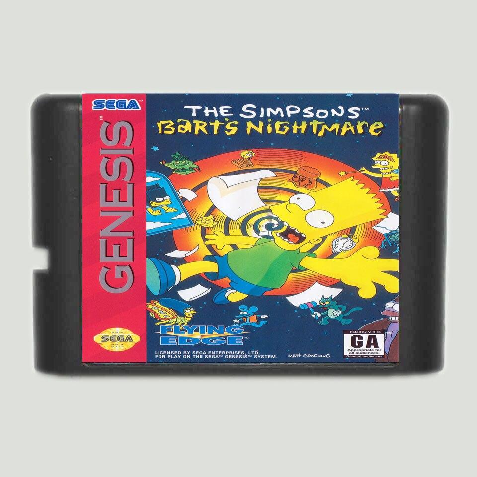 The Simpsons Barts Nightmare 16 bit MD Game Card For Sega Mega Drive For Genesis