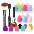 6 unids/pack Herramientas de Maquillaje Cepillo Conjunto Con la Fundación Brush Blush + Brocha + Puff + Brush Cleaner limpiador (Color al azar)