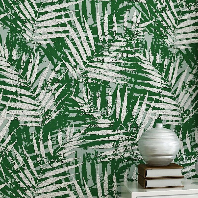 Feuille de palmier papier peint rouleau 3D en relief en daim cuir Tropical feuille troupeau papier peint Design pour fond murs Mural 4 couleurs