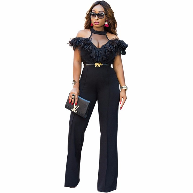 f55e66d1f565 Black Wide Leg Jumpsuits Halter Off Shoulder Elegant Lace Ruffles Jumpsuit  Backless Hollow Out Sexy Rompers Womens Overalls