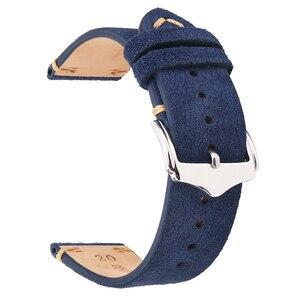 Image 4 - BEAFIRY אמיתי להקת שעון עור 18mm 19mm 20mm 22mm כהה חום כהה כחול אור חום אפור זמש עור שעון רצועות