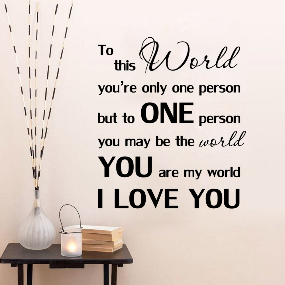 Bedroom Wall Decor Romantic aliexpress : buy your are my world wall stickers quote love