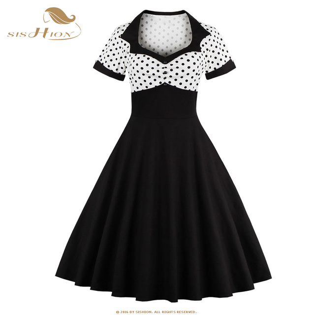 b9506503a3 US $22.15 15% OFF|SISHION Women Summer Rockabilly Dress Black Polka Dot S  4XL Plus Size Hepburn Casual Vestidos 50s 60s Vintage Dresses VD0429-in ...