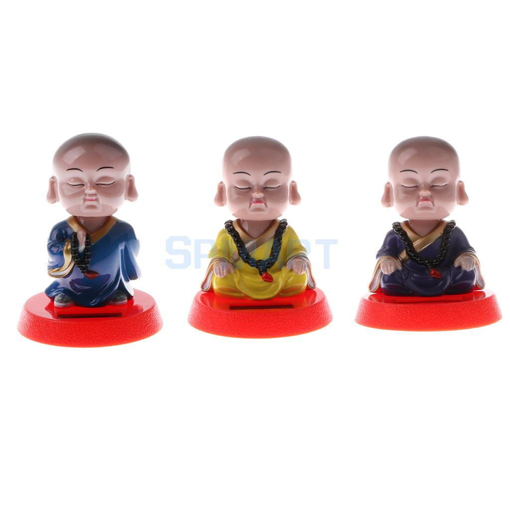 Solar Powered Bobbling Toy Shaking Head Waving Fortune Cat Monk Lion Home/Office/Car Ornament Auto Accessories solar powered magic autonomous mini car toy