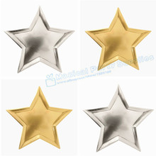 48pcs Star Shaped Paper Plates Foil Birthday Party  sc 1 st  AliExpress.com & Buy star shaped plates and get free shipping on AliExpress.com