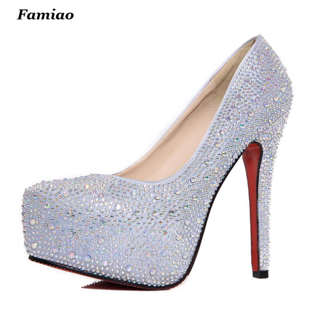 Brand Platform Shoes Woman High Heels Pumps Sexy Red Silver Women Shoes 11cm High Heels Fashion Wedding Bridal Shoes