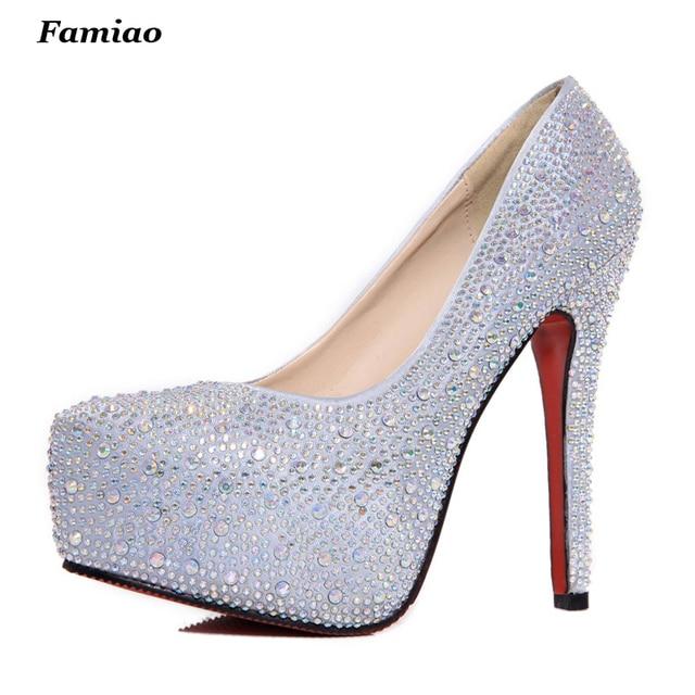 Marca de la Mujer Zapatos de Plataforma Tacones Altos Bombas Sexy Rojo Zapatos de Plata 11 cm Tacones Altos Zapatos de Moda Nupcial de La Boda