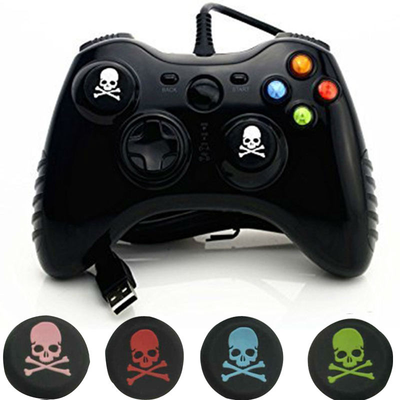 2pcs Skull Head Thumb Stick joystick silicone Cap For Playstation 4 PS4 PS3 Analog Grip For Xbox one Xbox360 Controller