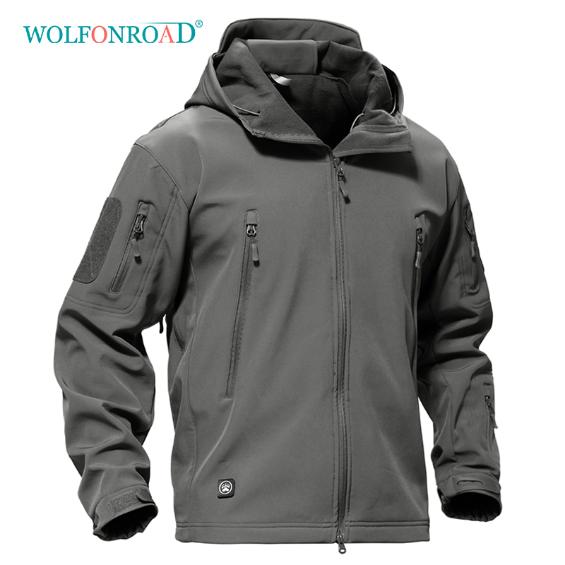 WOLFONROAD Outdoor Softshell Jacket Waterproof Hiking Camping Jacket Military Tactical Hunting Jackets Winter Windproof Jacket outdoor breathable softshell jacket men s black tactical hunting waterproof windproof jacket soft shell with fleece lining