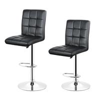 DOORSACCERY FR 2PCS Set Black PU Leather Swivel Bar Stool Height Adjustable Counter Pub Chair Barstools