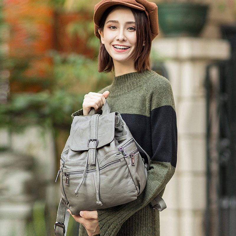 NEW 100 Genuine Leather Women Backpack Fashion Solid School Bags For Female Large Capacity Casual Women