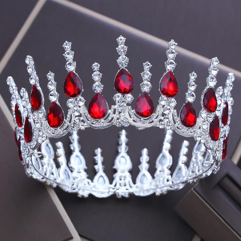 High End Luxury Tiaras 2018 Red Rhinestone Crystal Women Hair Jewelry Pageant Quinceanera Wedding Crowns Headbands Headpieces