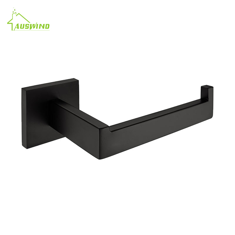 AUSWIND stainless steel wall mounted toilet paper holder black oil bronze square base without cover bathroom accessories set free shipping wall mounted space aluminum black golden paper towel shelf phone toilet paper holder