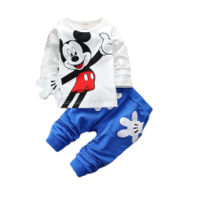 Spring Minnie mouse cotton children clothing sets baby boy girl sports cartoon long sleeve shirts+casual pants suits free ship