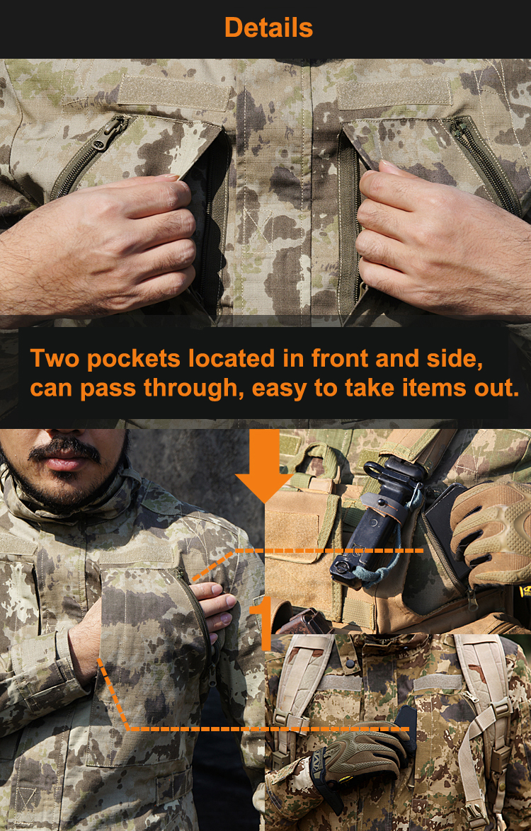 Veste Hid Typ Tops Creeper Déplacer Move Terrain all Naturel Tactique Camouflage iron moss Camo Steel Lichen And Ripstop Sand Sable Duty Mad srQdhtC