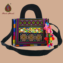 hot deal buy hot bohemia retro embroidered canvas flap totes  ethnic classic black  leisure women travel shoulder inclined bags