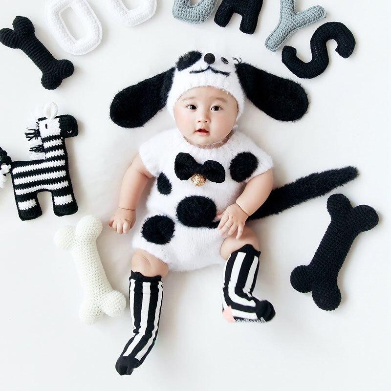 3-6 mois bébé photographie accessoires Crochet mignon chiens thème couverture minuscule bébé fille garçon Photo Shoot vêtements toile de fond ensembles