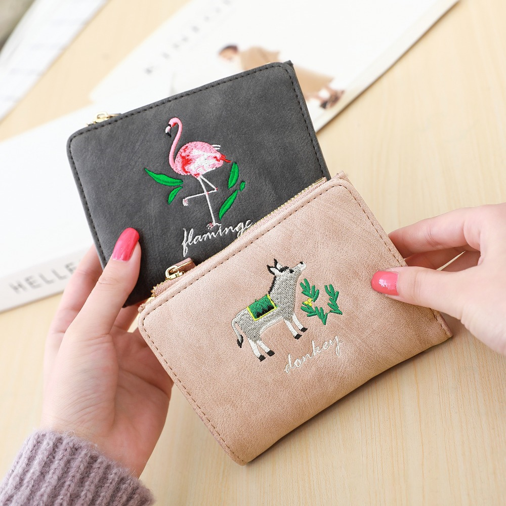 NEW women wallets small Embroidery Zipper Short Wallet Female Coin Purses Card Holders Handbag carteira flamingos change purse magnat quantum 1009