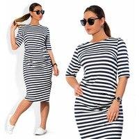 5XL 6XL Large Size 2016 Autumn Summer Dress Big Size Black White Striped Dress Straight Dresses