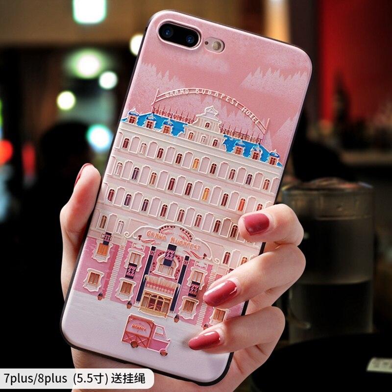 Le Grand Budapest hôtel petit sommeil rose en Relief étui pour Iphone 6 6 S 7 8 PLUS housse pour Iphone 8 PLUS