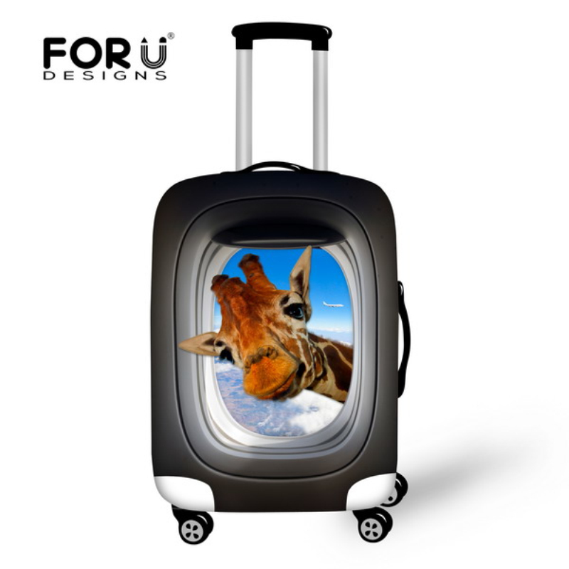 FORUDESIGNS 3D Dzīvnieku druka Aizsargājošais bagāžas pārsegs 18-30 collu ratiņiem Kofera pārklājums Elastīgs ceļojuma bagāžas pārsegs