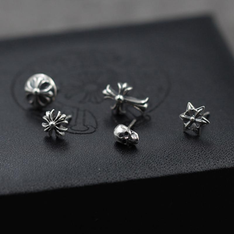 S925 silver stud earring for men skeleton and cross earring men vintage jewelry earring for women free shipping fashion UES001