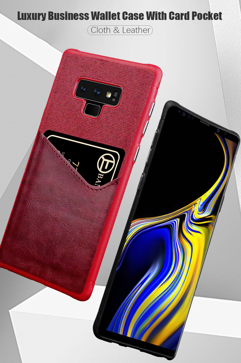 Luxury Business Cloth+leather Wallet Case for samsung note 9 8 with Card Pocket Cover for samsung galaxy S8 S9 Plus case Coque   (1)