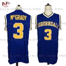 e9fd5bca AIFEIYIYI New Cheap Tracy McGrady 3# Throwback Basketball Jersey Auburndale  High School Jersey Blue Sewn Mens Shirts