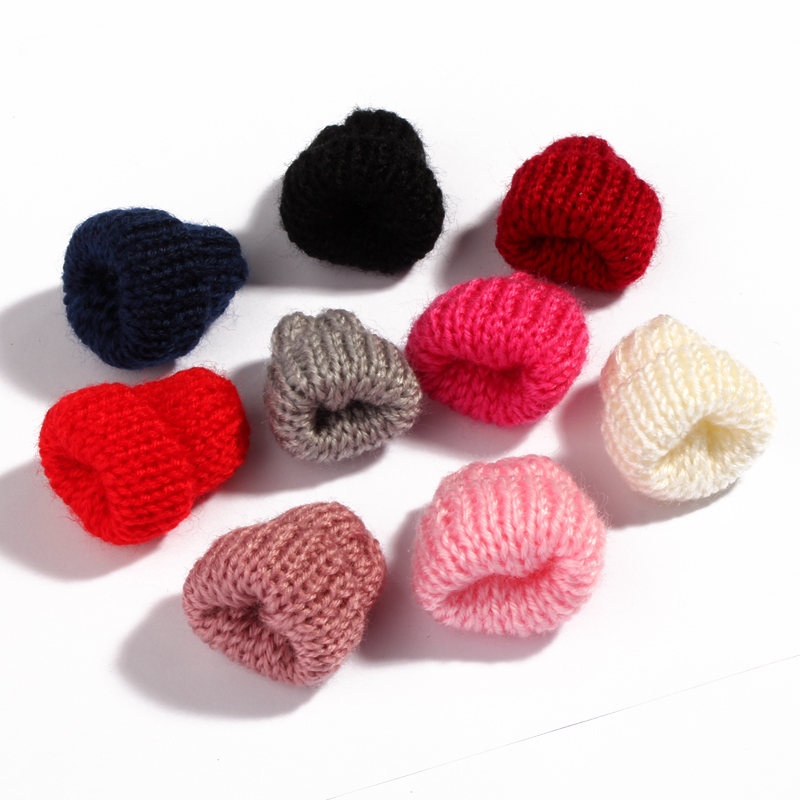 30PCS Mini Sweet Knitting Wool Flower Candy for Kids Hair Accessories Newborn Handmade Cute Woolen Yarn Hat for Women Clothing skullies beanies newborn cute winter kids baby hats knitted pom pom hat wool hemming hat drop shipping high quality s30