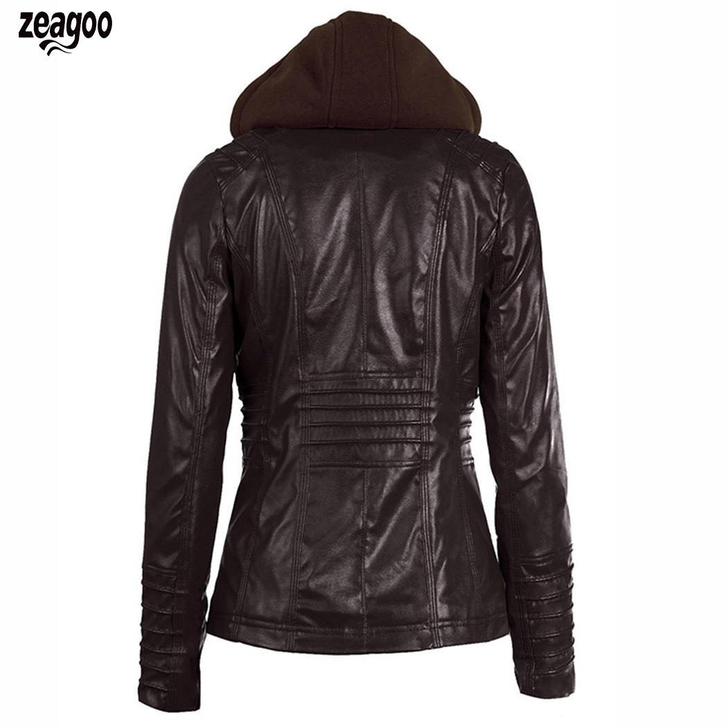 Women Casual Full-Zip O Neck Long Sleeve Spring, Autumn Synthetic Zipper   Leather   Solid Hooded Jacket Tops