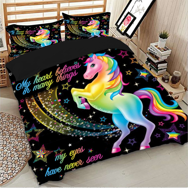 Dropshipping Duvet Cover Rainbow Unicorn Fairytale with Sparkling Stars 3D Digital Printing Bedding Sets Black Background 3
