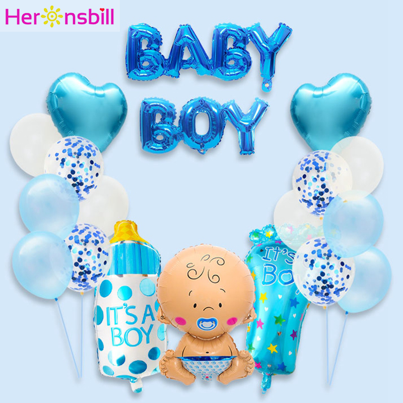 19pcs Baby Shower Balloons Photo Booth Props Its A Boy Girl Babyshower Party Decoration Gender Reveal Favors Supplies PhotoBooth