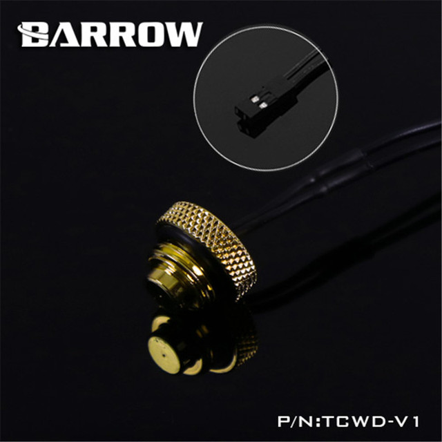 Barrow G1/4'' 10K Temperature Sensor Stop Fitting (standard) Water Cooling + 30cm Cable Black/White/Silver/Gold TCWD-V1