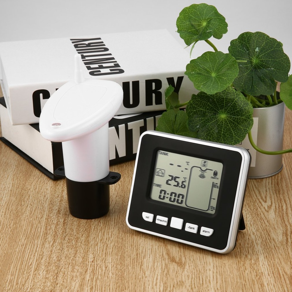 Ultrasonic Wireless Water Tank Liquid Depth Level Meter with Temperature Thermo Sensor Water Level Gauge LED