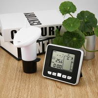 Ultrasonic Wireless Water Tank Liquid Depth Level Meter with Temperature Thermo Sensor Water Level Gauge LED Display