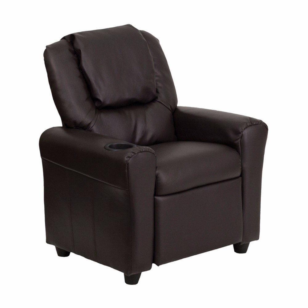 Flash Furniture Contemporary Brown Leather Kids Recliner with Cup Holder and Headrest [863-DG-ULT-KID-BRN-GG]