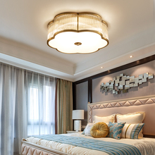 Luxury Copper Bedroom Ceiling Lamp Warm Romantic European LED Simple Modern Study Lighting Clear Glass Lampshade