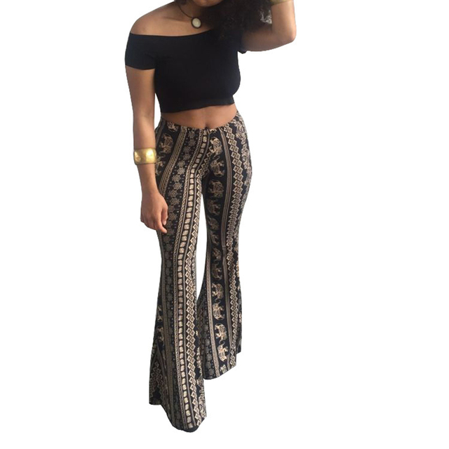 c3e22b98580 Flare Pants AOWOFS 2018 New Fashion Loose Long Pant Tribal African Print Wide  Leg Trousers Bell Bottom Leggings Hippie Pants