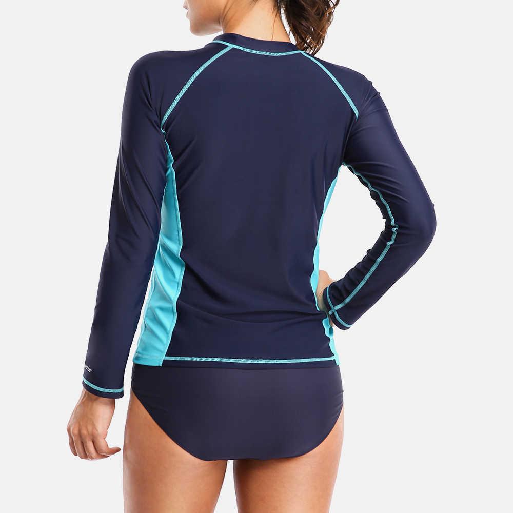 Attraco Wanita Ruam Penjaga Baju Renang Lengan Panjang K Berlaku Berenang Kemeja Surf Top Baju Renang Berjalan Kemeja Hiking K Berlaku UPF 50 +