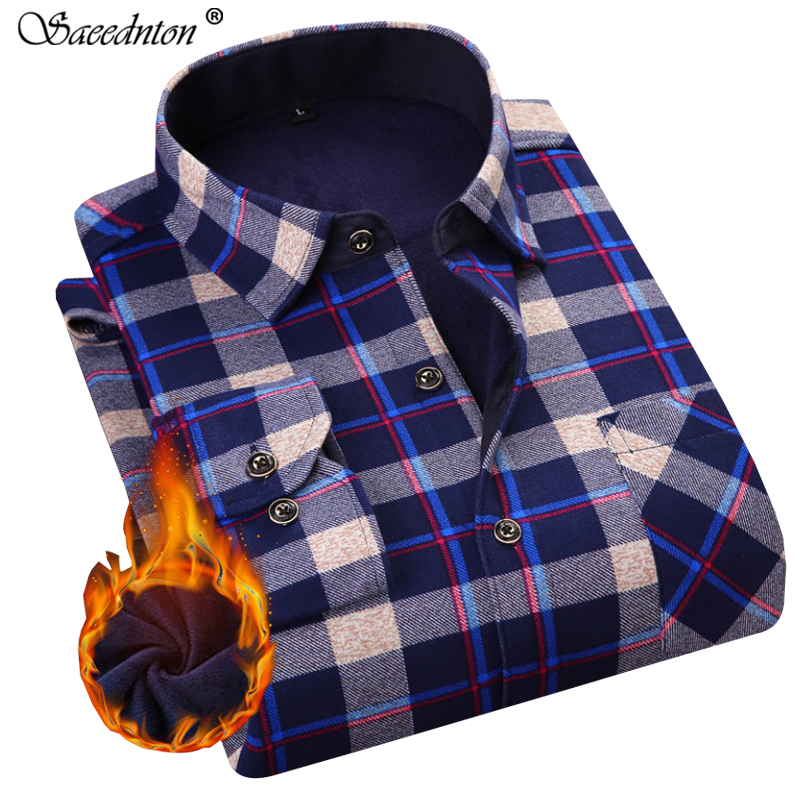 Men Dress Shirt 2019 Winter Men 39 s Long Sleeve Plaid Warm Thick Fleece Lining Shirt Fashion Soft Casual Flannel Plus Size L 4XL in Casual Shirts from Men 39 s Clothing