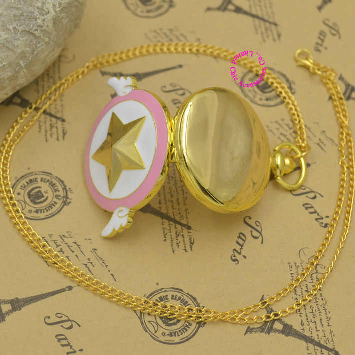 wholesale Anime Series Card Captor Sakura Star Pocket Watch Necklace With Wing Golden Tone fob watches Famous