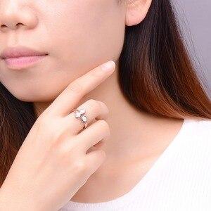 Image 2 - Женское кольцо с натуральным опалом HUTANG, обручальные Открытые Кольца из серебра 925 пробы, драгоценные камни, ювелирные изделия с 3 камнями, классический дизайн