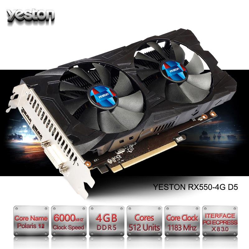 Yeston Radeon RX 550 GPU 4 ГБ GDDR5 128bit игровой настольный компьютер PC Видео Графика карты поддерживают PCI-E 3,0
