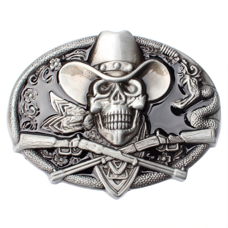 DIY Belt Buckle Head West Cowboy Gun Skull Belt Buckle Metal Skull Head Belt Wild Western Style Diy Belt Accessories