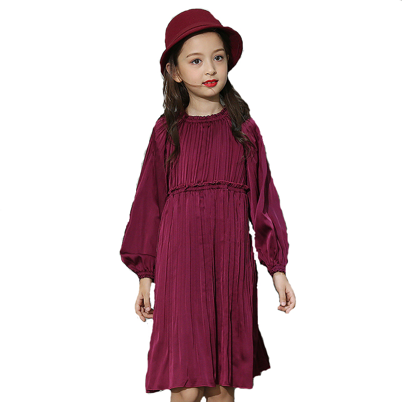2018 Spring Autumn Vintage Long Sleeve Dress For Girls Lantern Sleeve Princess Dresse Pleated Dress Kids Clothes For Party chic spaghetti strap solid color tank top 3 4 sleeve embroidered pleated dress twinset for women